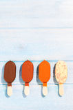 Ice creams on table Royalty Free Stock Image