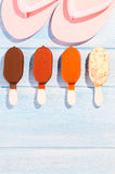Ice creams on table Royalty Free Stock Images