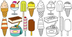 Ice Creams Vector. Hand Drawn Icons Collection Stock Images