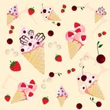 Ice creams on the  yellow background Royalty Free Stock Photo