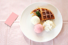 Ice crem with waffle Royalty Free Stock Photography