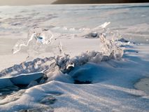 Ice crest winter landscape. Winter frozen lake landscape with ice crest and snow Stock Photography