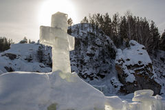 Ice cross in a cold winter morning. Russia`s baptism Royalty Free Stock Image