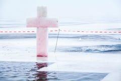 Ice cross hole on Epiphany Stock Image
