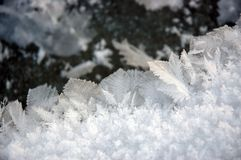 Ice Crystal. S forming on the edge of a frozen river Stock Images