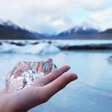Ice crystal from Mount Cook, New Zealand royalty free stock photography