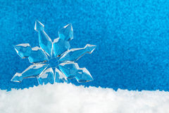 Ice crystal on snow Royalty Free Stock Photo
