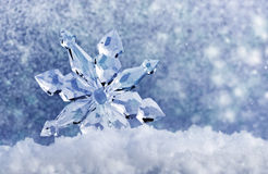 Ice crystal on snow stock photo