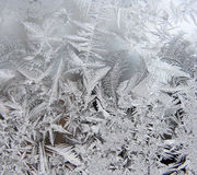 ICE CRYSTALS. Ice patterns on frosty window Royalty Free Stock Image