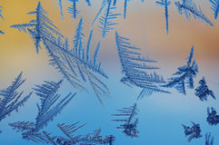 Ice crystals. On window Royalty Free Stock Images