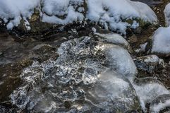 Ice crystals above a flowing creek, Harz, Germany stock images