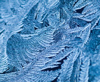 Ice Crystals. Close up of ice crystals forming on a window Stock Photo