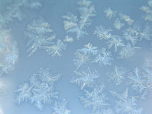 Ice crystals on glass Stock Photos