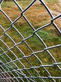 Ice crystals on a green wire mesh fence Stock Photos