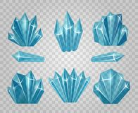 Ice crystals isolated on transparent background Stock Images