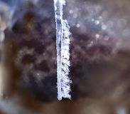 Ice Crystals On A Hanging Icicle Stock Photo