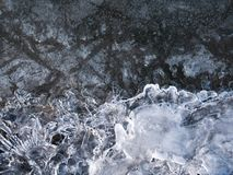 Ice crystals on snow texture. background stock photography