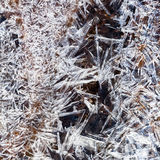 Ice crystals under frozen stream Royalty Free Stock Photo