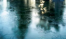 Ice crystals on the water surface reflect the morning sun. Turkey Stock Photography