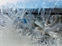 Ice crystals. An abstract image of ice crystals on a window in the wintertime Royalty Free Stock Photography