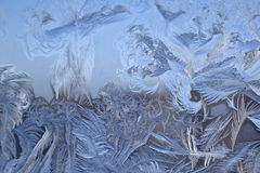 Ice crystals on window glass in winter Royalty Free Stock Image