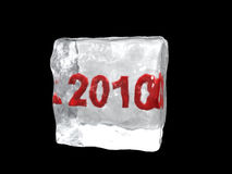 Ice cube. Red 2010 into ice cube Royalty Free Stock Image