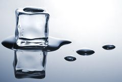 Ice cube. With water drops Royalty Free Stock Photo
