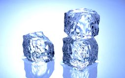 Ice Cube. Three ice cubes on blue reflective surface Royalty Free Stock Photography