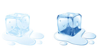 Ice cube. On water surface, illustration Stock Photography