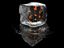 Ice Cube. 3D render of ice cube Stock Photos