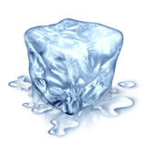 Ice Cube. With melting water drops on a white background as a symbol of cool refreshing frozen water for cold drinks or as a symbol of freshness and Royalty Free Stock Photo