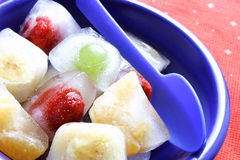 Ice cube. Fruits pieces in ice-cubes Stock Image