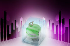 Ice cube and apple. In color background Stock Image