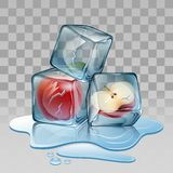 Ice cube with apple Royalty Free Stock Images