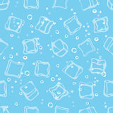 Ice cube babbles and water blue textile print seamless pattern. Stock Photo