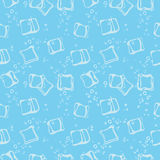 Ice cube babbles and water blue textile print seamless pattern. Mineral sparkling water blue background Stock Photo