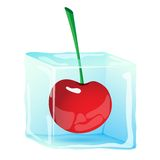 Ice cube with berry cherry Stock Photo