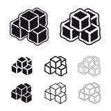 Ice cube black symbols Royalty Free Stock Images