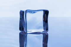Ice cube on the blue background Royalty Free Stock Image