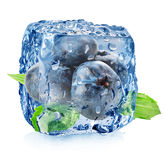 Ice cube with blueberries Stock Photos