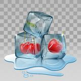 Ice cube with cherry Royalty Free Stock Photography