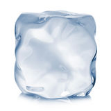 Ice cube close-up  on a white background Royalty Free Stock Photos