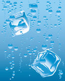 Ice cube in glass. Vector illustration of the ice cube in glass of the mineral water Stock Photos