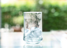 The ice cube in glass that out of water Royalty Free Stock Images