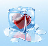 Ice cube with heart. Ice cube on water surface, illustration Stock Photography