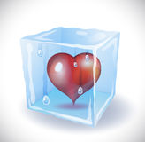 Ice cube with heart Royalty Free Stock Photo
