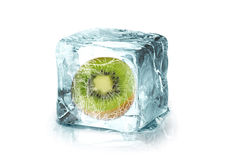 Ice cube with kiwi Royalty Free Stock Images