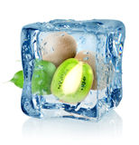 Ice cube and kiwi Stock Photo