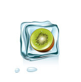 Ice cube with kiwi fruit inside  on white Royalty Free Stock Image