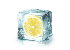 Ice cube with lemon Royalty Free Stock Photo